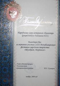 Благодарность_2009_Глава Ельниковского р-на